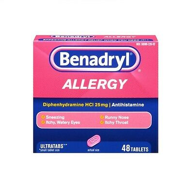 Benadryl Ultratab Allergy Medicine 25mg 48 tablets + Free Worldwide Shipping