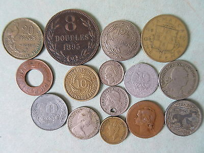 15 Old & Antique Foreign Coins 1895-1964 Hong Kong France Portugal Etc