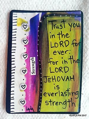 Folk Art Scripture ORIGINAL ACEO Mixed Media Bible Trust LORD Jehovah Strength