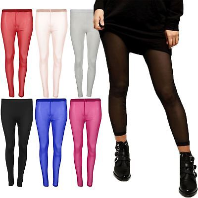 Women Mesh See Through Full Ankle Length Stretchy Ladies Tight Jeggings Leggings
