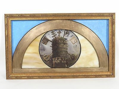 Antique Crown Church Stained Glass Window Reverse Painted in Gold Frame