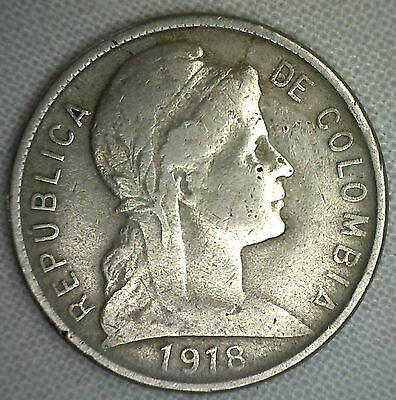 1918 Colombia 5 Centavos Copper-Nickel Coin KM#199 World Coin #R