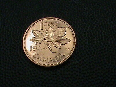 CANADA    1  Cent   1964     PROOF   ,   MAPLE  LEAF