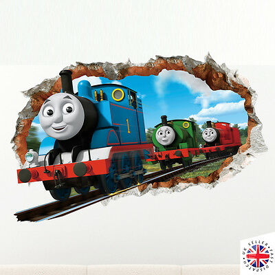 3D THOMAS TANK ENGINE FRIENDS Wall Sticker Vinyl Mural Home Bedroom Poster Boys