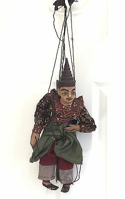 """Antique Hand CARVED Burmese Dancing Marionette Puppet Wood Hand MADE 15"""" Tall"""