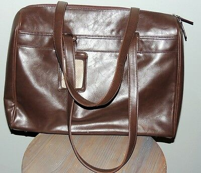 "BUXTON BROWN Leather Business Portfolio Purse Computer Bag Tote 13"" x 17"""