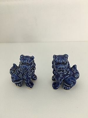 Vintage Pair of Blue Chinese Small Foo Dogs