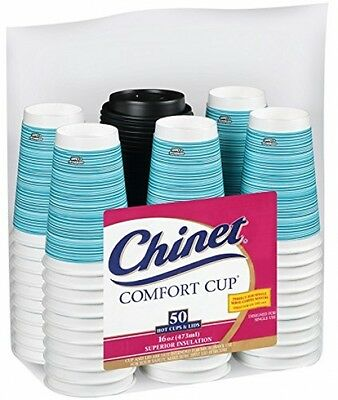Chinet Comfort Cup 16-Ounce Cups, 50-Count Cups and Lids (Assorted Colors)