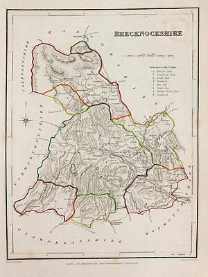 Brecknockshire County Hand Coloured Map, Antique Map c. 1848 by Samuel Lewis