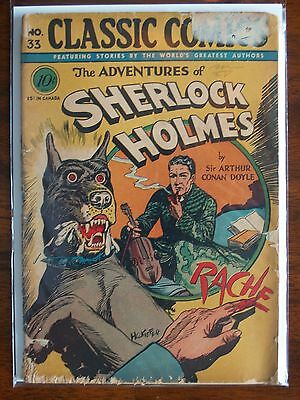 """Rare Vintage Classics Illustrated Issue #33 """"the Adventures Of Sherlock Holmes""""."""