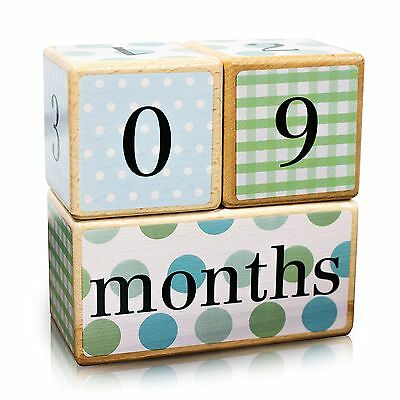 LovelySprouts Milestone Age Blocks | Solid Wood | Baby Age Photo Blocks | Per...