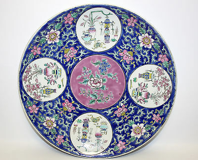 """Signed Chinese Blue &pink Enameled Precious Objects Export Porcelain 12"""" Charger"""