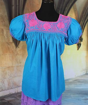 Turquoise & Pink Hand Embroidered Blouse Maya Chiapas Mexico Peasant Hippie Boho