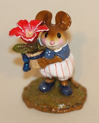 Wee Forest Folk Love in Bloom M-295 Mouse Carrying Potted Red Flower