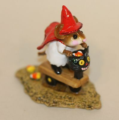 Wee Forest Folk Scootin' with the Loot Red Cape M-296 Halloween Mouse Candy Corn
