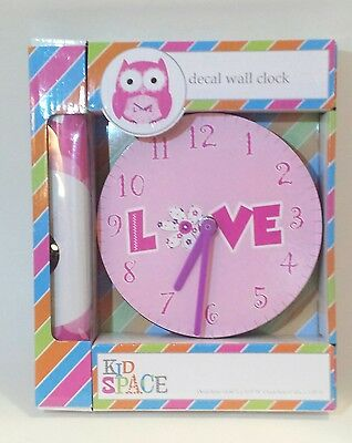Owl Decal And Clock Wall Hanging Decor Nursery Pink Decoration Baby Girl  New