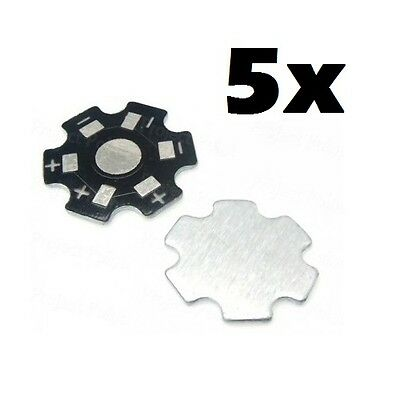 5x supporto basetta dissipatore per chip led 1W 3W 5W alluminio heat sink star