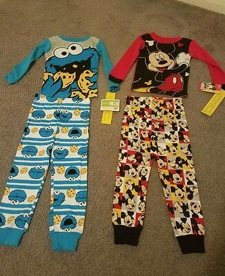 4t pajamas boys toddlers mickey mouse cookie monster nwt pjs