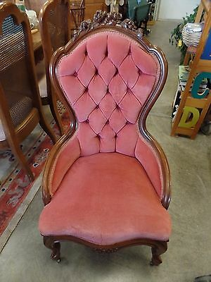 Vintage Victorian Carved Wood Roses Pink Velvet Parlor Chair
