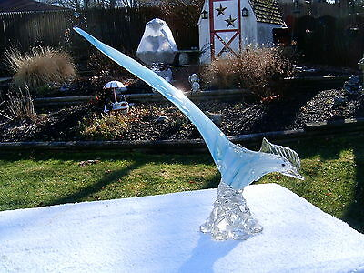 "Vtg Murano Art Glass Turquoise/white Striped 14"" Long Pheasant *free Shipping*"