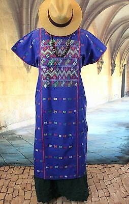 Blue Amuzgo Huipil Dress Hand woven, Mexican Vintage Style Hippie Boho cowgirl