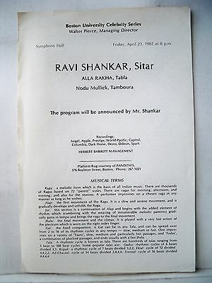 RAVI SHANKAR Playbill SYMPHONY HALL Boston MA 1982