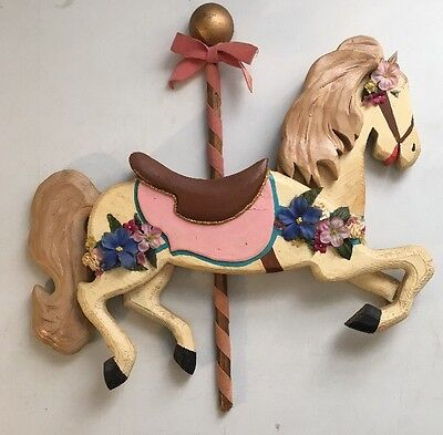 Vintage Carousel Horse Hand-Crafted Wooden Wall Decor - 16 Inches