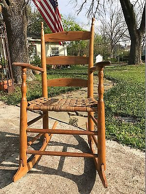 Antique Hand Crafted Ladderback Rocking Chair W/ Woven Cowhide Seat