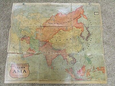 Antique Asia Geo. F. Cram Linen Backed Folding School Map Early
