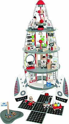 Hape Disocvery Space Center Kid's Wooden Playscape Set with Accessories