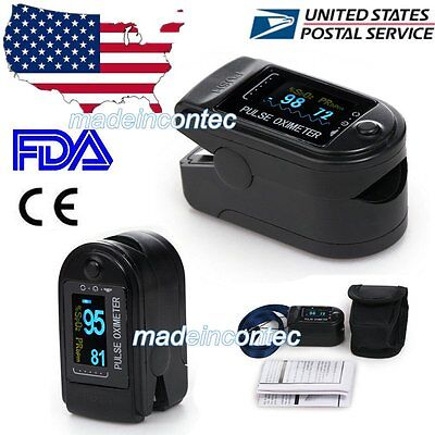 USA!!! Finger Tip Pulse Oximeter Blood Oxygen SpO2 PR Monitor OLED CMS50D CE FDA
