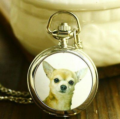 Chihuahua Puppy Dog Pendent Quartz Watch Necklace.