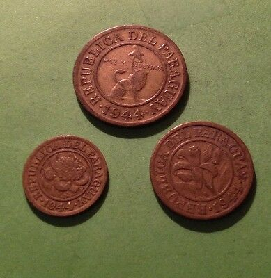 Paraguay 1944, 3 Coins: 1 & 10 & 50 Centimos 1944 Very Fine Lot329