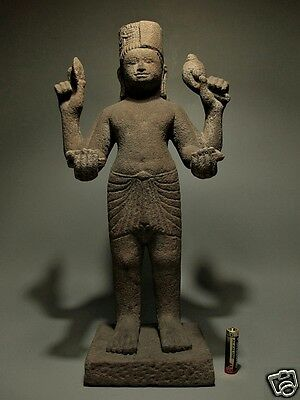 Antique Khmer Sculpture Sandstone Multi-Arms Vishnu Figure 'phnom Da' 7/8Th C