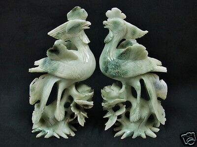 Fine Statue Carving Pair Of Cock Sculpture Jade Stone Figure Marble 19/20Th C