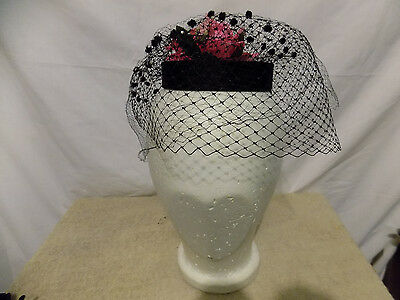 Vintage Black Veil Hat Top with Pink Rose and Small Bow