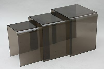 Vintage Smoked Lucite Acrylic Nesting Tables - Eames Knoll Danish Modern Deco