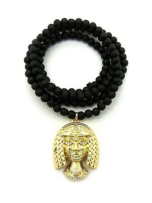 Gold Egyptian Pharaoh Cleopatra Queen Pendant Charm Wood Chain Necklace Jewelry