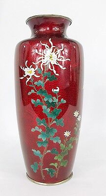 Large Antique Japanese Pigeon Blood Cloisonne Enamel w Silver Trim & Floral
