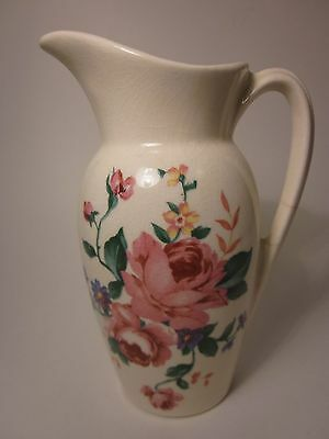 ROYAL COPLEY Vintage Decal Pitcher Gold Stamp Pink Roses 40's Art Deco 6 1/4""