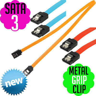 SATA 2 SATA 3 Data Cable Straight Angle Metal Grip Clip ASUS MSI Desktop PC NEW