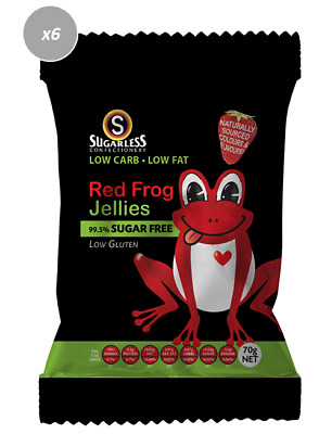 910896 4 x 70g BAGS OF 99.5% SUGAR FREE RED FROG JELLIES! LOW GLUTEN - FRANCE