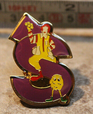 McDonalds Ronald Fry Guy Letter S Alphabet Collectible Pinback Pin Button 2000