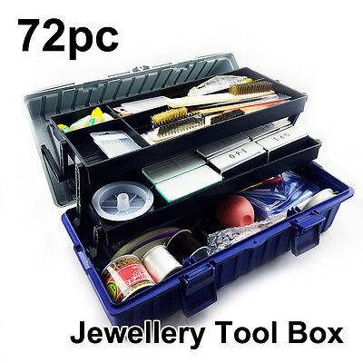 72PC Jewellery Tool Box Set, Drilling Polishing Filing Cutting Wiring Cleaning