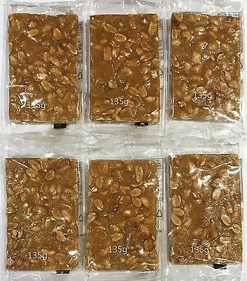 901255 6 x 135g PACKETS OF CRUNCHY TOFFEE BRITTLE SLABS WITH PEANUTS, PB BRITTLE
