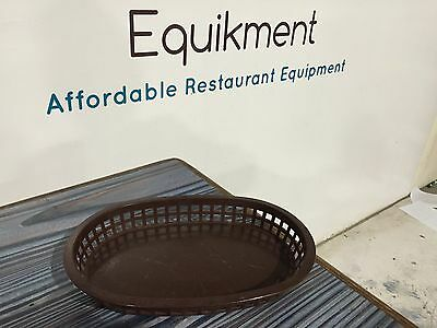 "Large 10-3/4"" Plastic Fast Food Basket Baskets Tray Brown"
