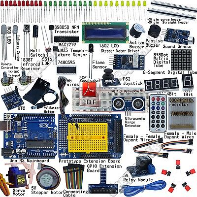UNO R3 Starter Kit for Arduino 1602LCD Servo Ultrasonic Motor Relay RTC DIY-FR