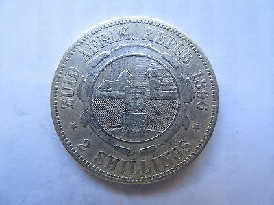 1896 ZAR SOUTH AFRICA SILVER 2 SHILLINGS COIN in NICE COLLECTABLE CONDITION