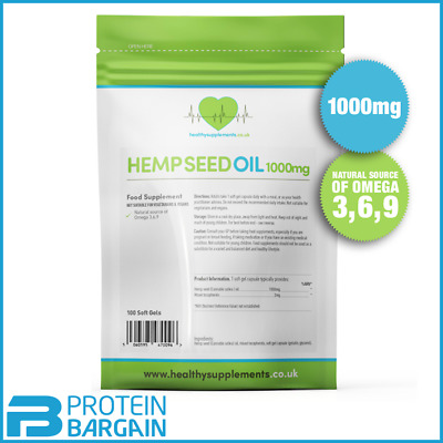 Healthy Supplements Hemp Seed Oil High Strength 1000mg 100 Capsules Omega 3 6