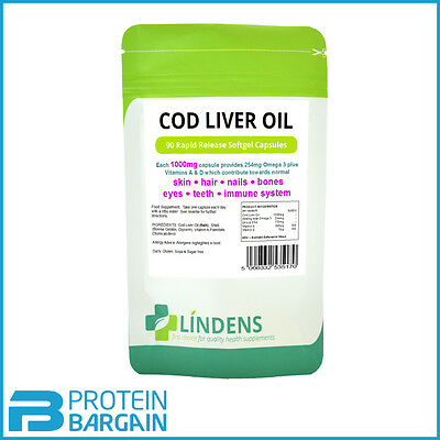 Cod Liver Oil 90 Capsules Strong 1000mg Joint Heart Health Supplement Lindens